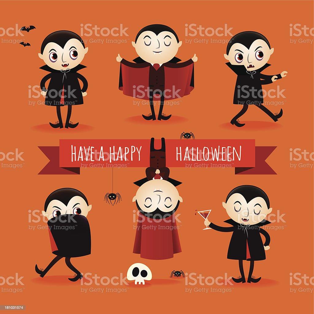 Set of vampires vector art illustration