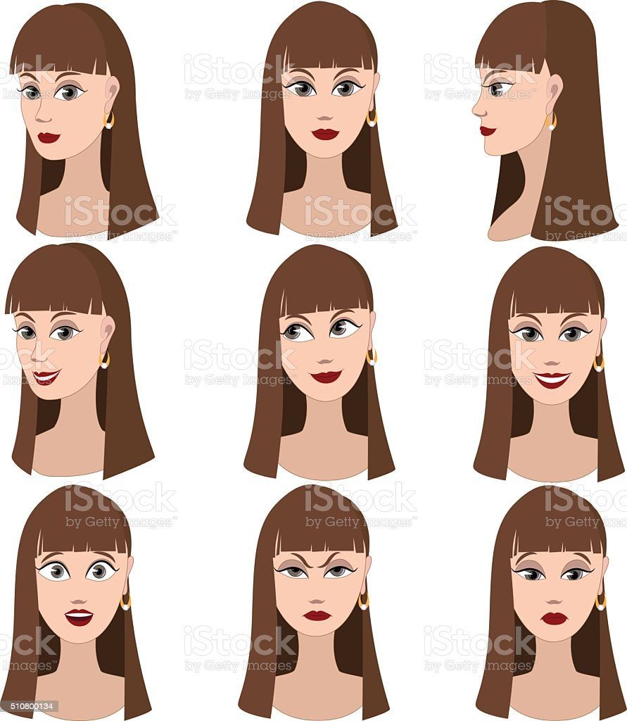 Set of variation of emotions of the same woman vector art illustration