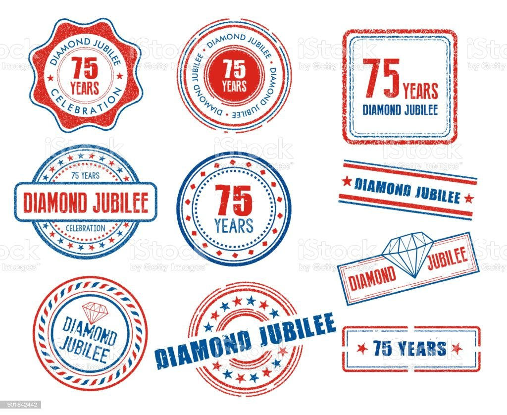 Set of various 75th anniversary Diamond Jubilee stamps vector art illustration
