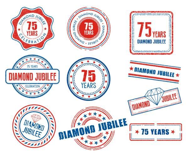 Set of various 75th anniversary Diamond Jubilee stamps vector art illustration