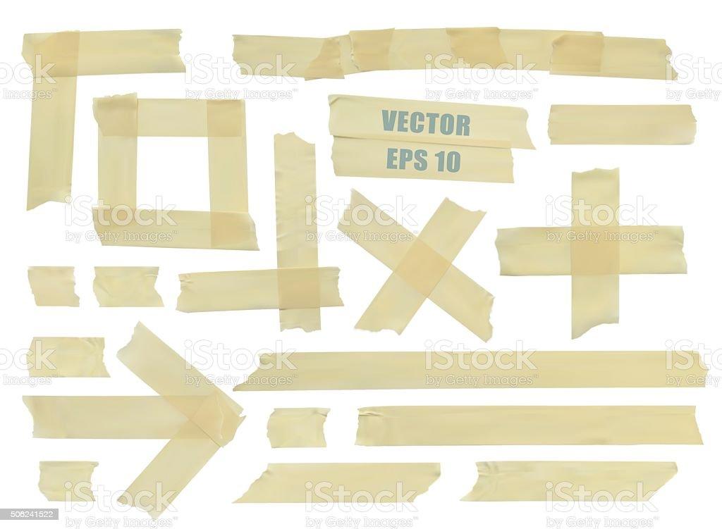 Conjunto de diferentes peças de fita adesiva. Ilustração vetor realista. - ilustração de arte em vetor