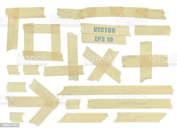 Conjunto De Vários Pedaços De Fita Adesiva Ilustração Realista Vector - Arte vetorial de stock e mais imagens de Amarelo