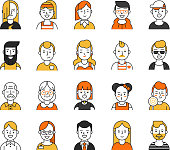 Set of various avatars for web projects. Vector pictures in mono line style. Illustration of human social portrait face