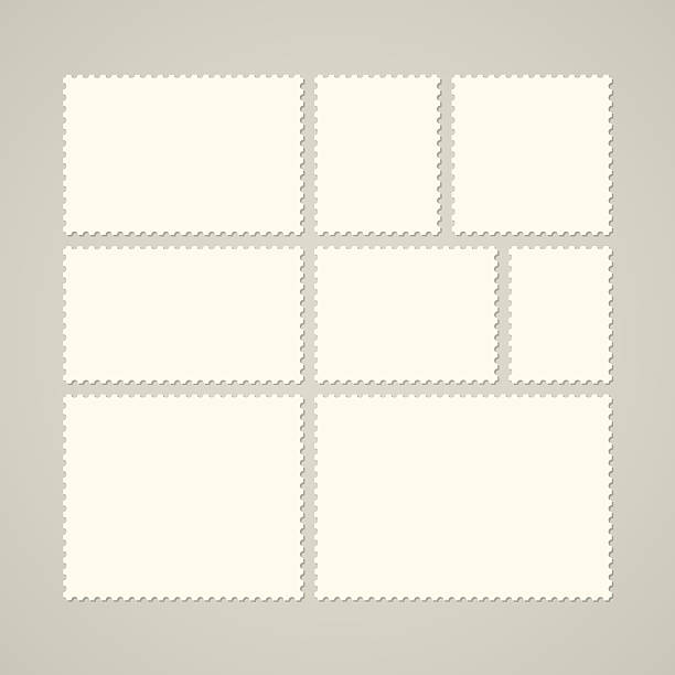 set of various blank postage stamps isolated on gray - postcard 幅插畫檔、美工圖案、卡通及圖標