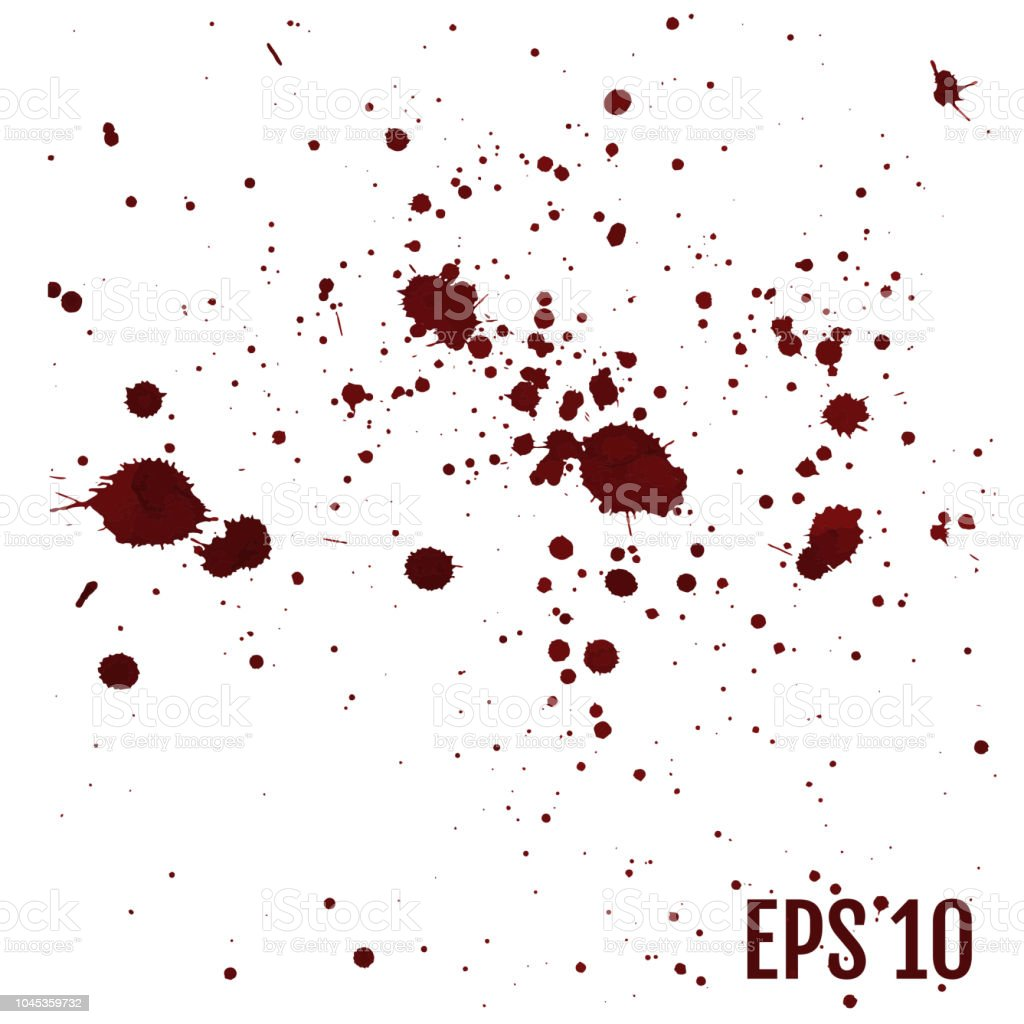 Set of various blood or paint splatters,Vector Set of different blood splashes, drops and trail. Isolated on white background. All elements are not grouped. Vector illustration. vector art illustration