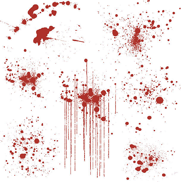 Set of Various Blood Splatters Set of 8 blood or paint splatters. Each splatter has been grouped for easy editing. splattered stock illustrations