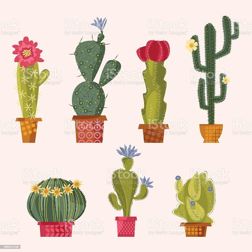 Set of various blooming cacti. royalty-free set of various blooming cacti stock vector art & more images of botany