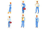 Collection set of various builders in blue clothing and helmets. Construction engineers at the working process concept. Isolated icons set illustration on a white background in cartoon style.