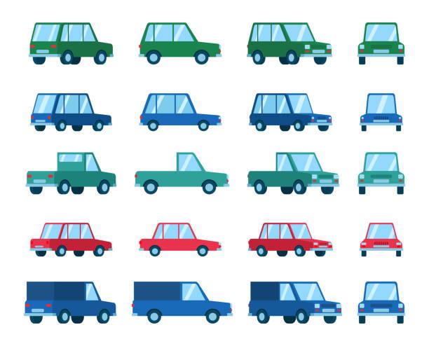 Set of various car types and views. Hatchback, sedan, family car Flat style vector illustration hatchback stock illustrations
