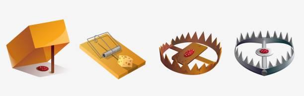 illustrazioni stock, clip art, cartoni animati e icone di tendenza di set of various cartoon animal trap isolated on white background - trappola per topi