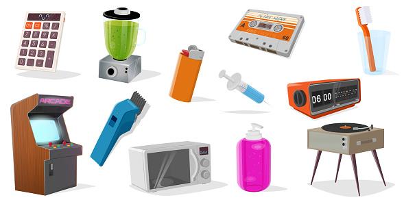 set of various cartoon objects