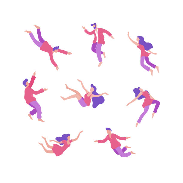 Set of various cartoon people flying in space vector flat illustration
