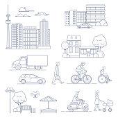 Set of various city design elements