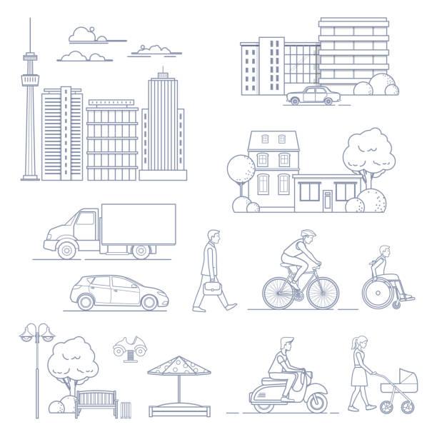 set of various city design elements - car illustrations stock illustrations