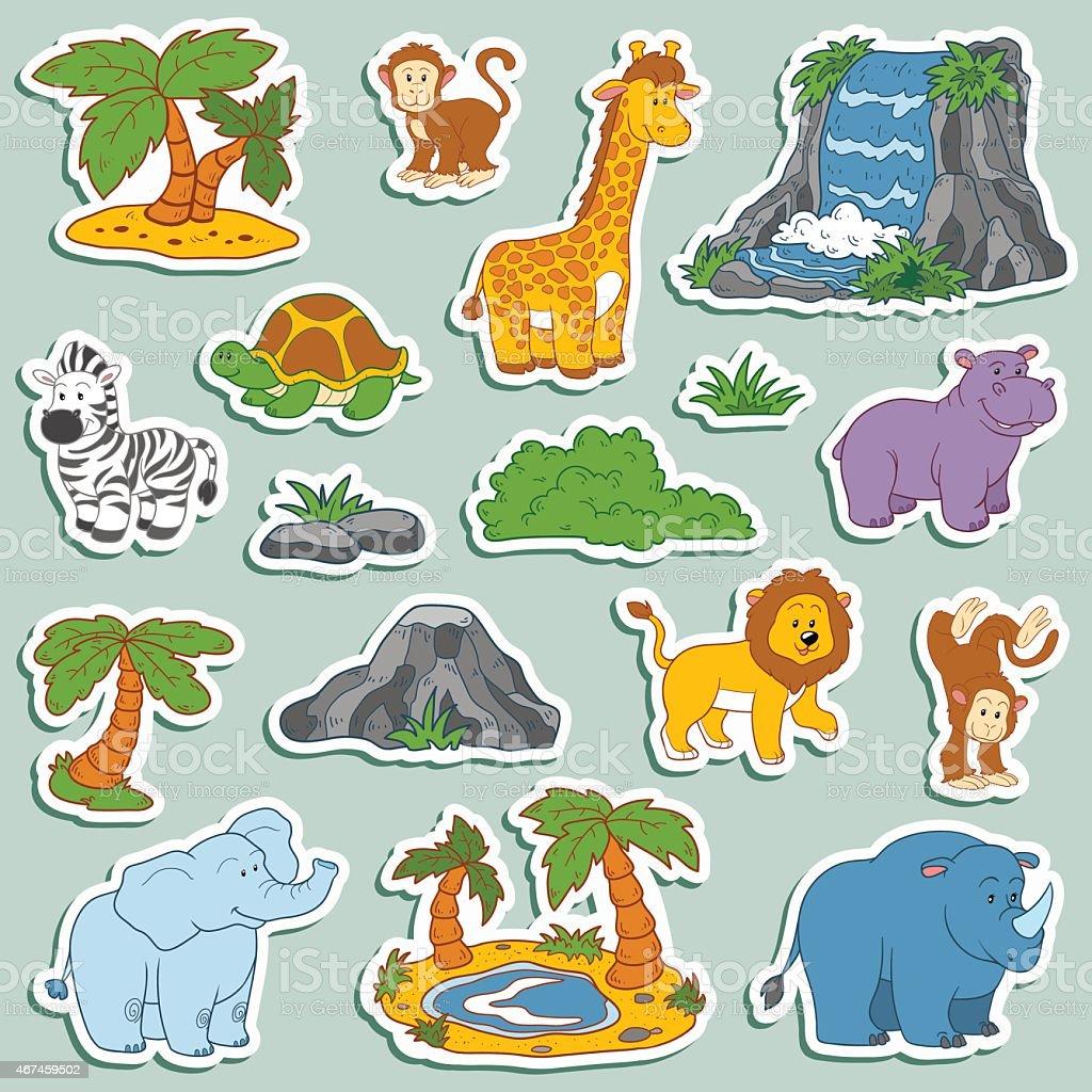 set of various cute animals vector stickers of safari animals