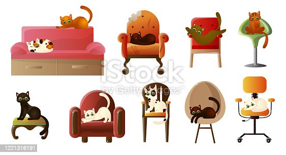 Collection set of various cute domestic cats resting in different poses on comfortable sofas and soft designer armchairs. Isolated icons set illustration on a white background in cartoon style.