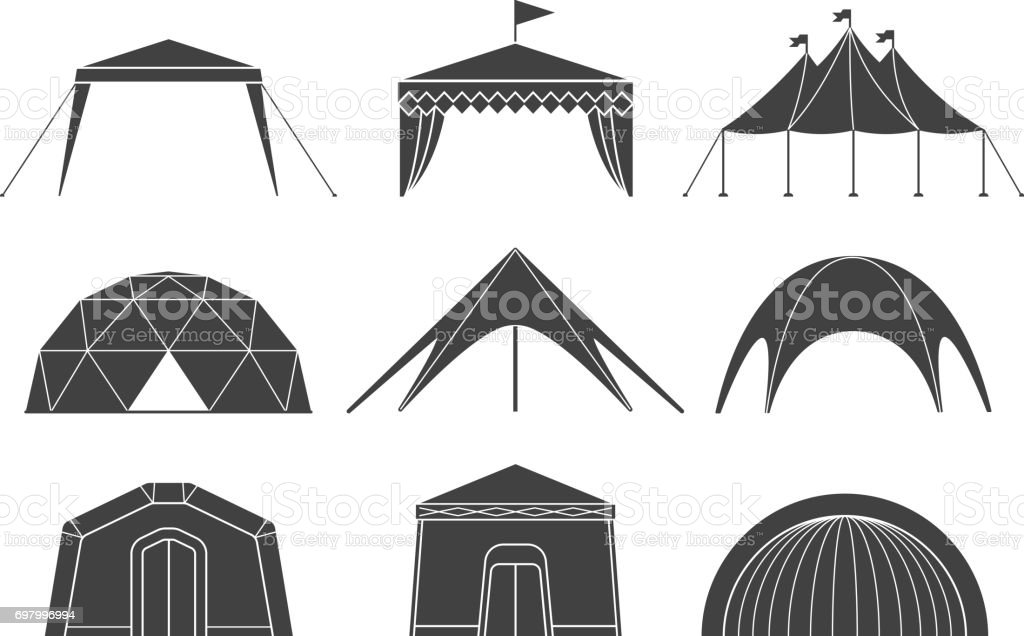 Set of various designs of tents for camping and pavilion tents vector art illustration