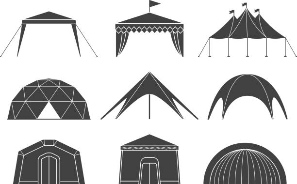 zusammenstellung verschiedener designs von zelten für camping und pavillon zelte - dachzelt stock-grafiken, -clipart, -cartoons und -symbole