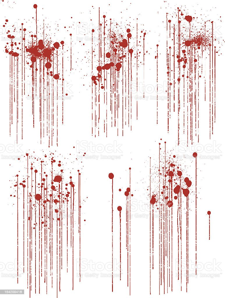 Set of Various Dripping Grunge Blood Splatters vector art illustration