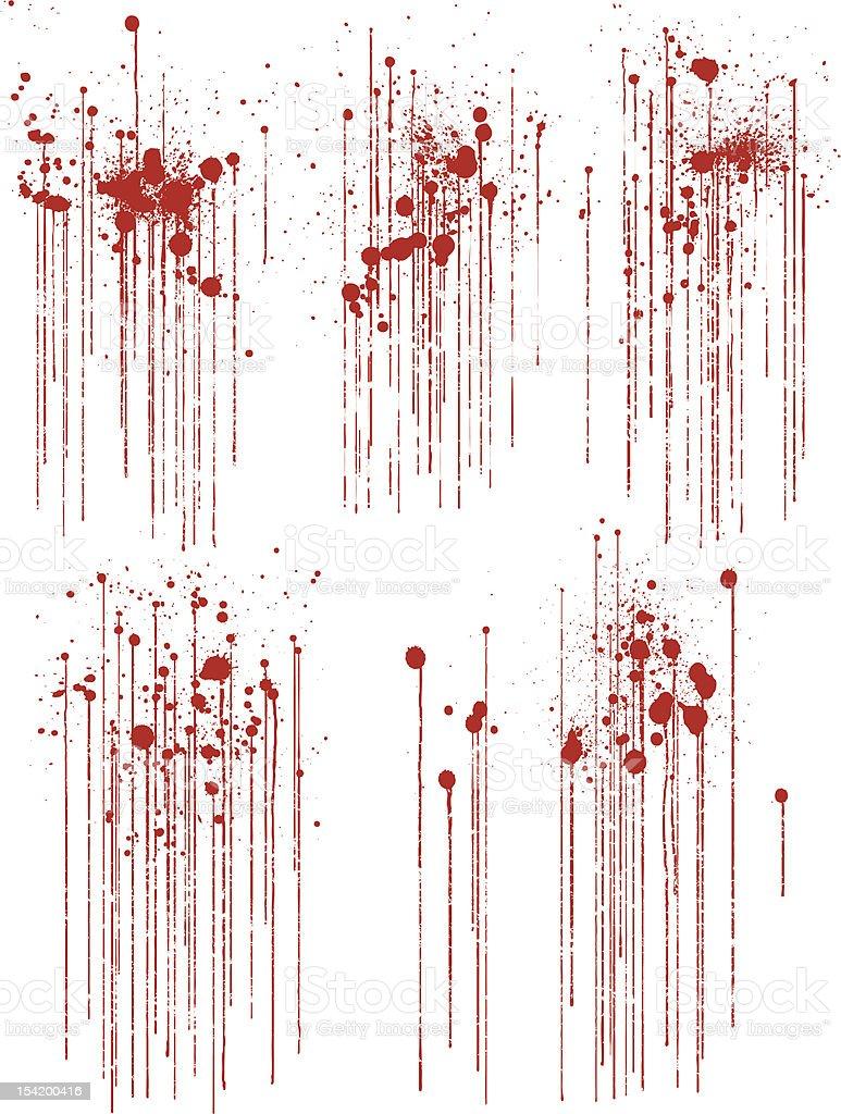 Satz von verschiedenen Tropfen Grunge Blut Farbspritzern – Vektorgrafik