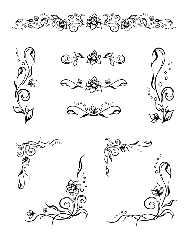 Set of various elegant floral text dividers and frame corners with roses, buds, and flourishes. Hand-drawn ornate design elements for decoration, prints
