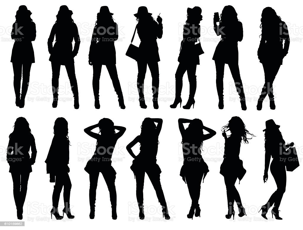 Set of various fashion woman silhouettes. vector art illustration