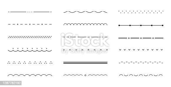 A set of various flat and simple lines/borders/dividers
