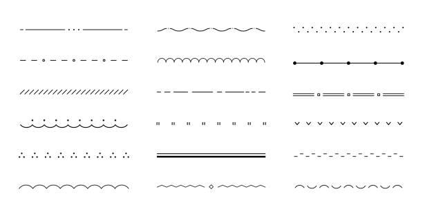 zestaw różnych płaskich i prostych linii/ obramowań/przegród - linia stock illustrations