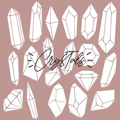 Set of various flat crystals, diamonds, gemstones, minerals, rhinestones, birthstones.