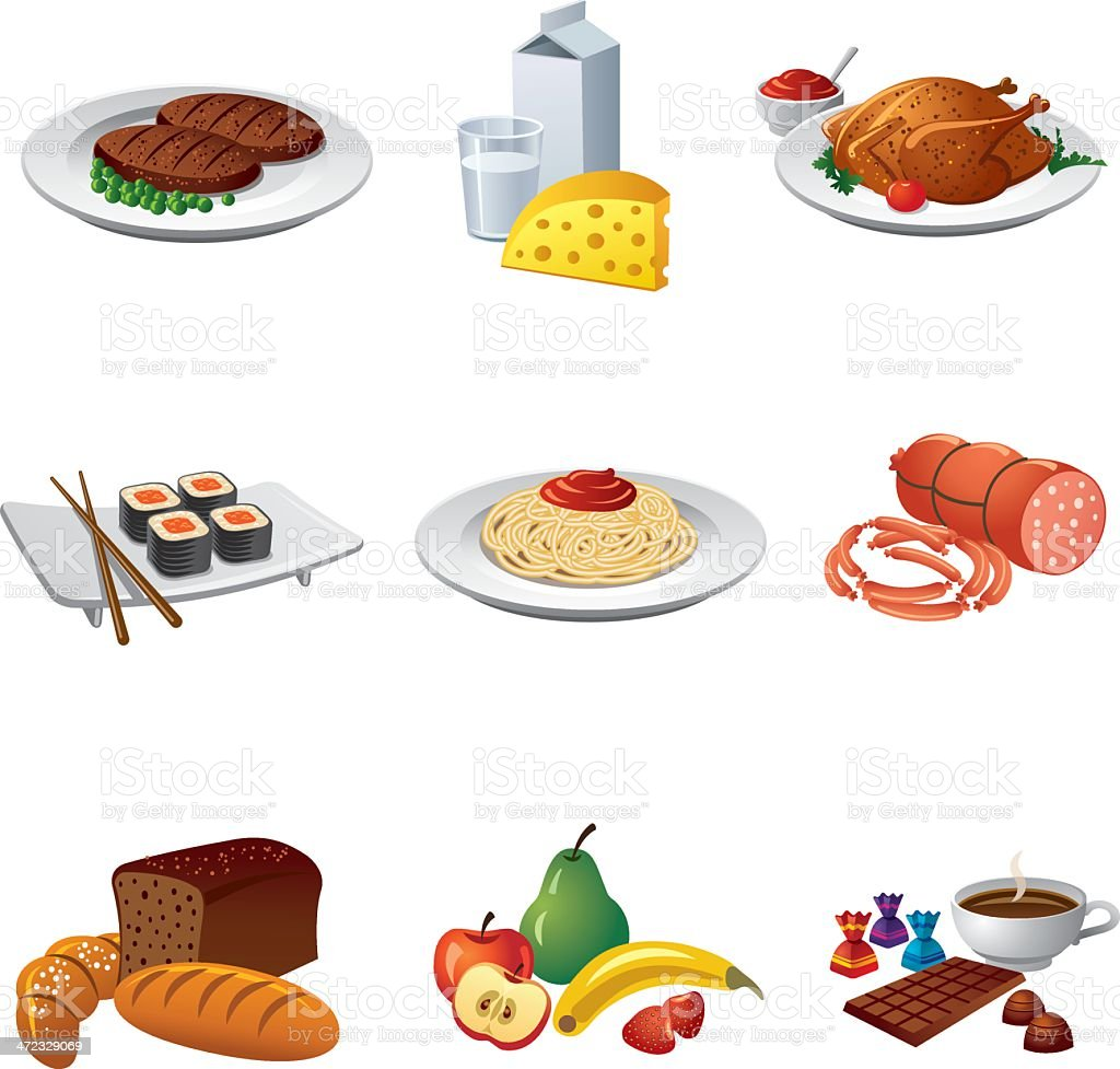 Set of various food and meal icons royalty-free set of various food and meal icons stock vector art & more images of apple - fruit