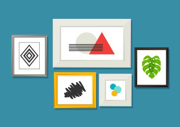 bildbanksillustrationer, clip art samt tecknat material och ikoner med uppsättning av olika ramar för bilder och foton på väggen - painting wall