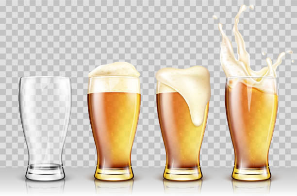 Set of various full and empty beer glasses. Isolated on transparent background. Realistic vector illustration vector art illustration