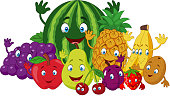 Vector illustration of Set of various funny cartoon fruits