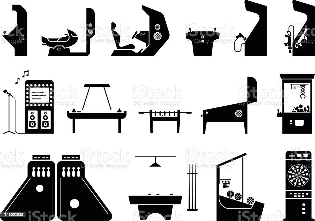 Ensemble de diverses machines de jeux. - Illustration vectorielle