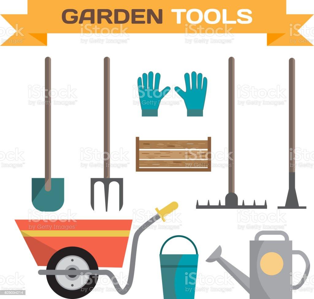 Set of various gardening items. Garden tools vector art illustration