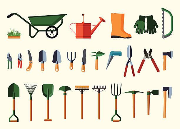 Set of various gardening items. Garden tools. Flat design illustration of items for gardening. Vector illustration. pitchfork agricultural equipment stock illustrations