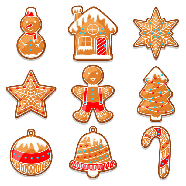 Set of various gingerbreads for Merry Christmas Set of various gingerbreads for Merry Christmas. cookie cutter stock illustrations