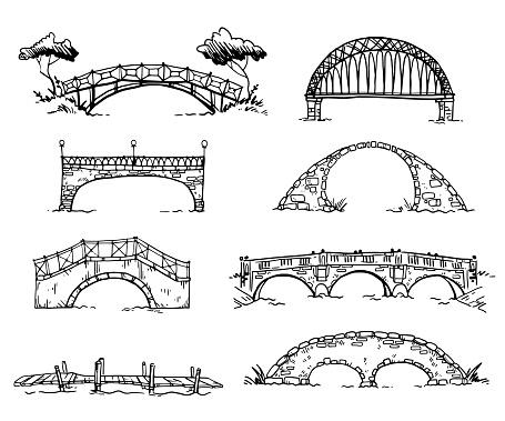 set of various hand drawn bridges, vector sketch