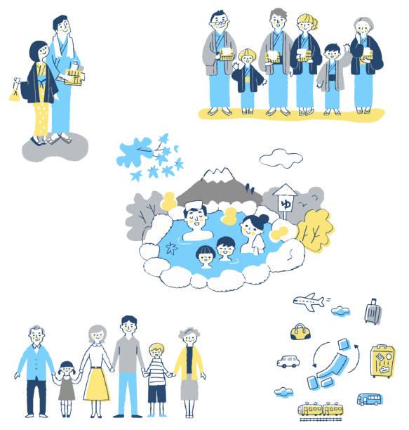 bildbanksillustrationer, clip art samt tecknat material och ikoner med uppsättning av olika hot spring trip bilder - japanese bath woman