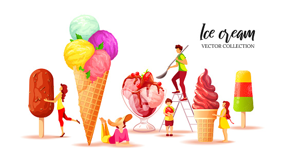 Set of various ice cream with tiny people on the white background. Ice cream parlor or shop, Sweet products, Dessert concept.