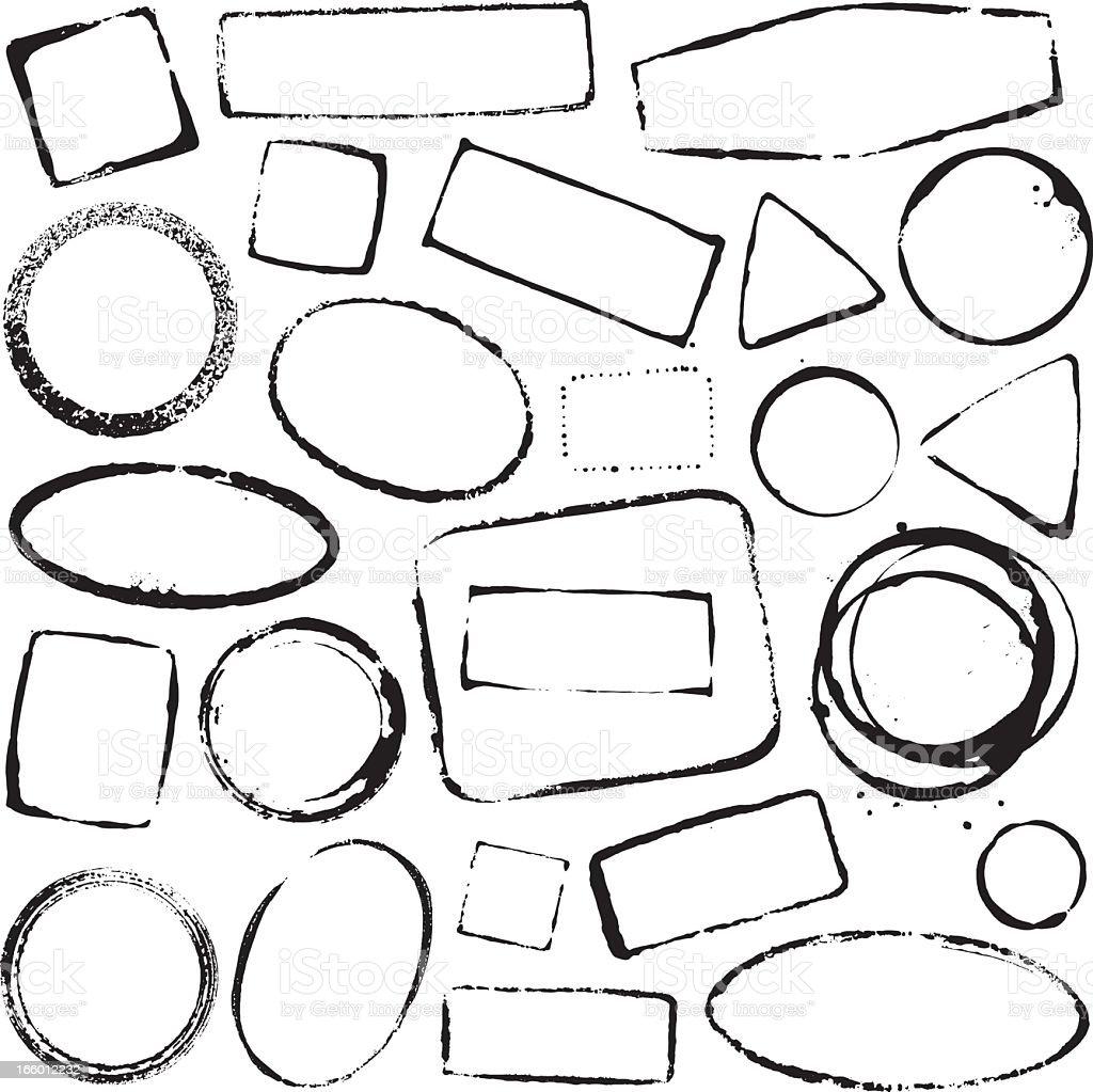 Set of various imprint in black over a white background vector art illustration