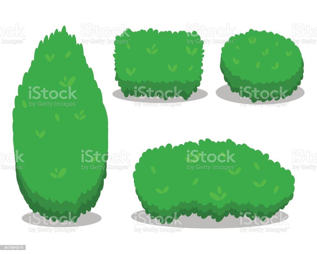 Ensemble de divers arbustes isolés. Cool design plat simple avec les ombres. Différentes formes de buissons. Illust. - Illustration vectorielle