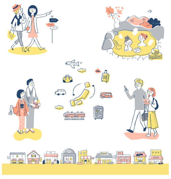 bildbanksillustrationer, clip art samt tecknat material och ikoner med en uppsättning av olika japanska resor två personer scener - japanese bath woman