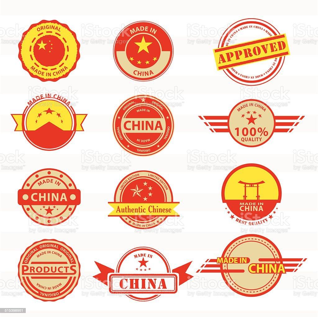 Satz von verschiedenen Made in China-Grafiken und Marken. – Vektorgrafik