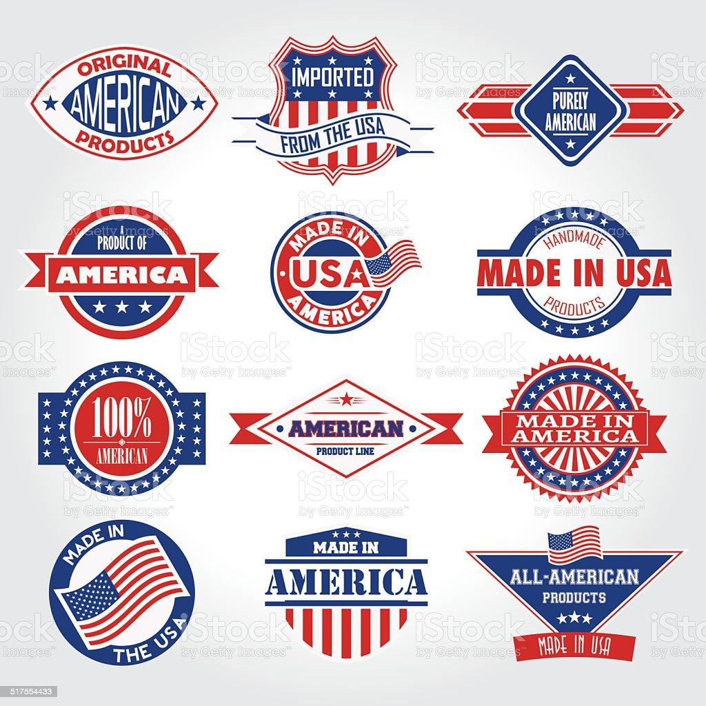 Satz von verschiedenen Made in the USA-Grafiken Marken-badge – Vektorgrafik