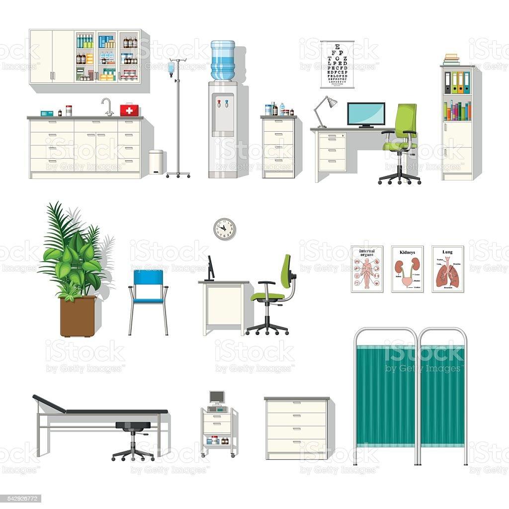 Set of various medical furniture vector art illustration