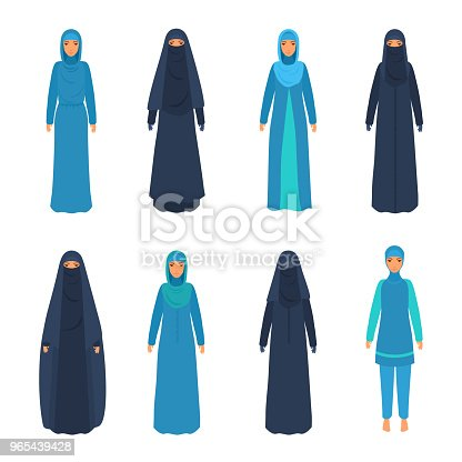 Muslim, Islamic, traditional clothing on female. Vector illustration isolated on white.