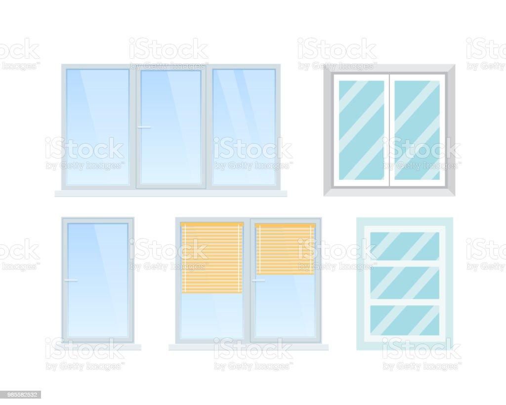 Ensemble de divers bureaux modernes et accueil windows pièces