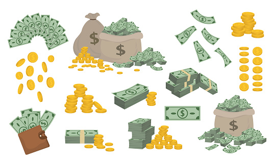 Set of various money bills dollar and gold coins.