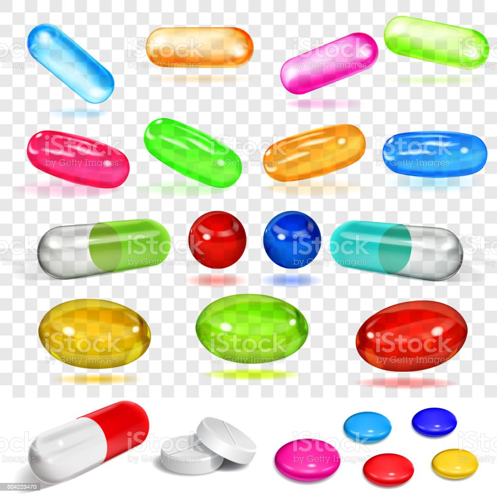 Set of various multicolored capsules and pills vector art illustration